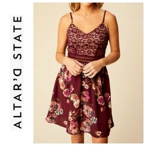 Altar'd State Burgundy Floral Lace Strap Dress M